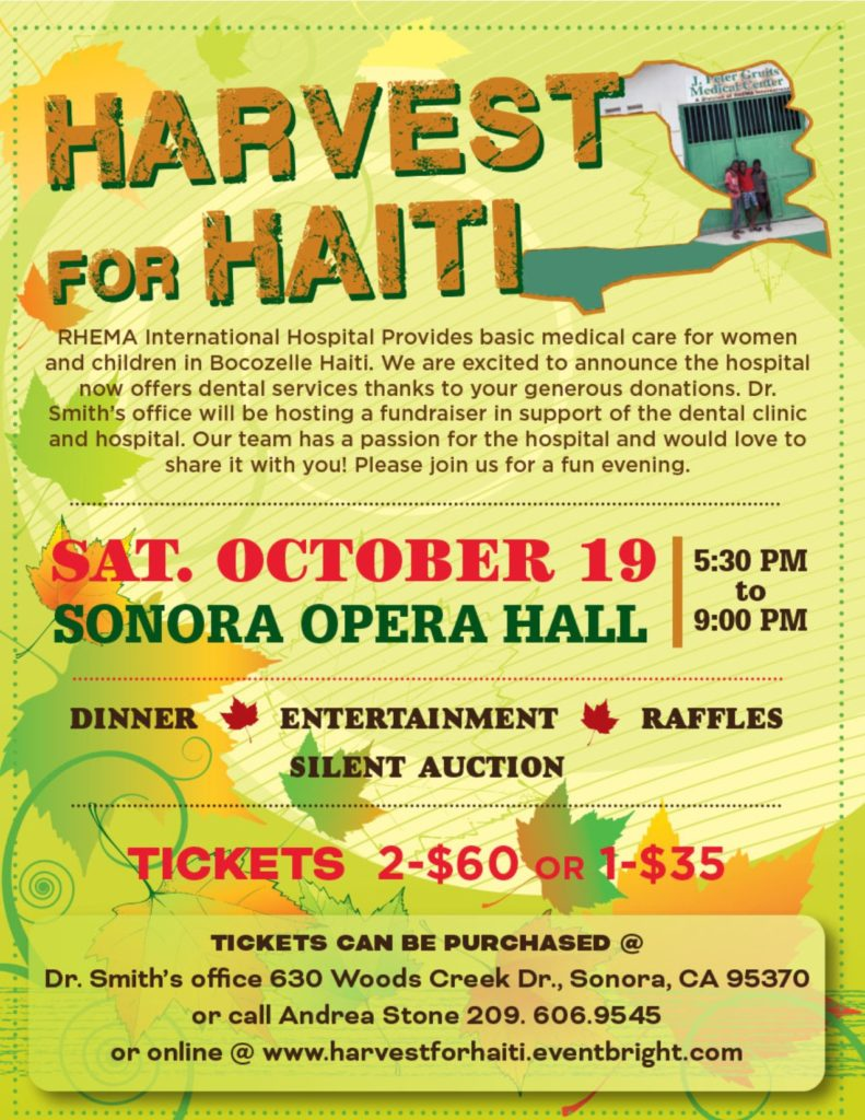 harvest for haiti flyer for an event at the opera hall on oct. 19
