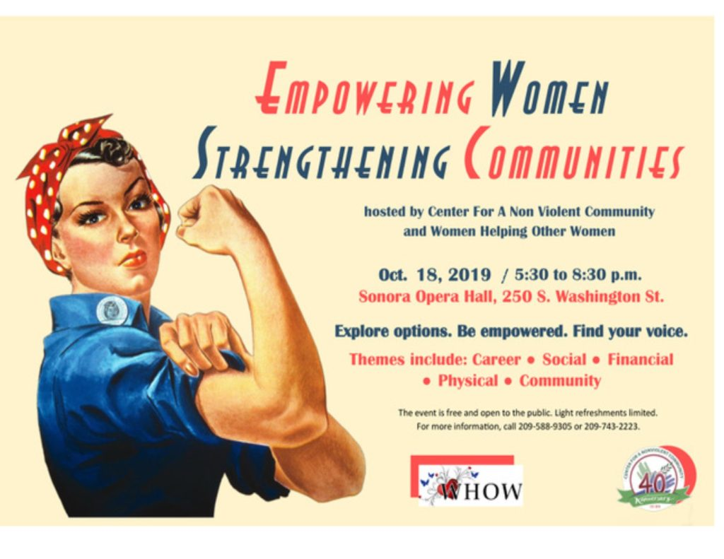 a flyer to empower women while helping the community a free event