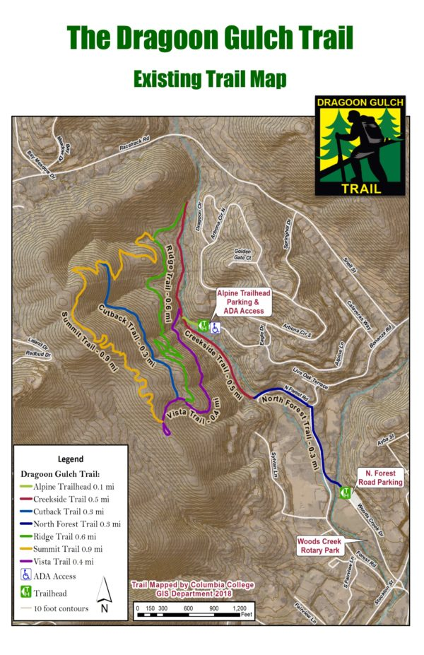 map of trails for Dragoon Gulch