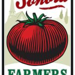 Farmers Market logo with a large tomato