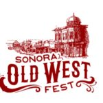 logo for old west fest in burgandy